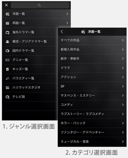 ジャンル・カテゴリ検索の画面