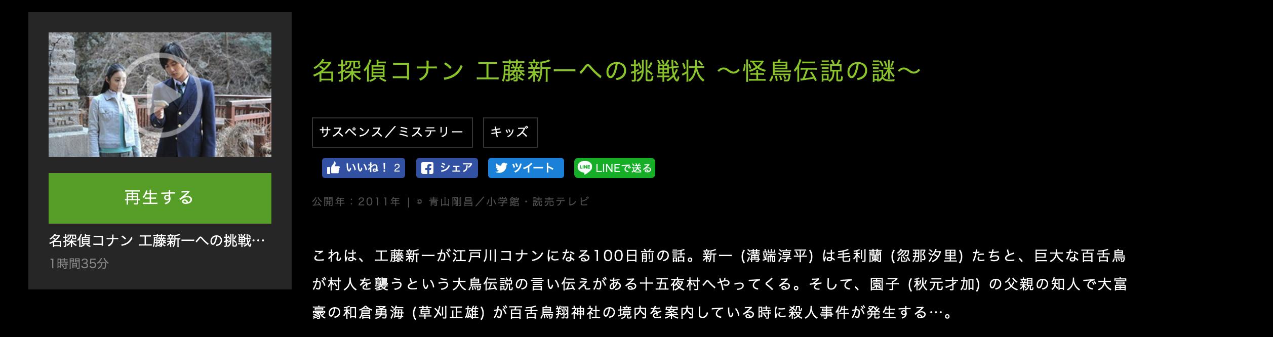 名探偵コナン 工藤新一への挑戦状 ~怪鳥伝説の謎~あらすじ
